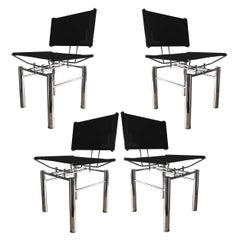 Set of Four Architectural Black Woven Chrome Dining Chairs from Ulrich Bitch