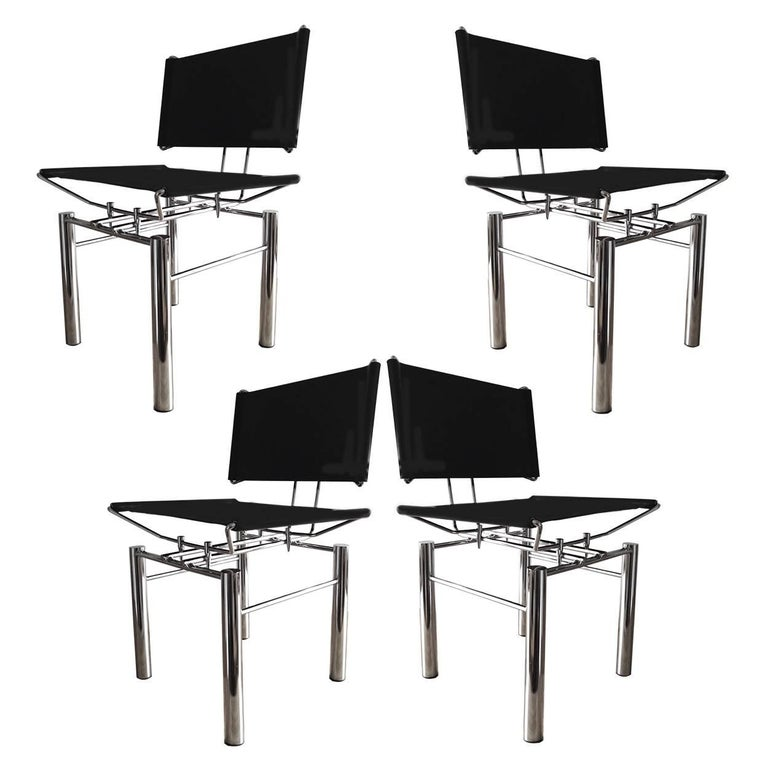 Set of Four Architectural Black Woven Chrome Dining Chairs from Ulrich Bitch For Sale
