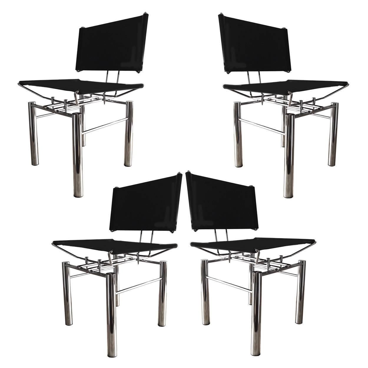 Bon Set Of Four Architectural Black Woven Chrome Dining Chairs From Ulrich Bitch