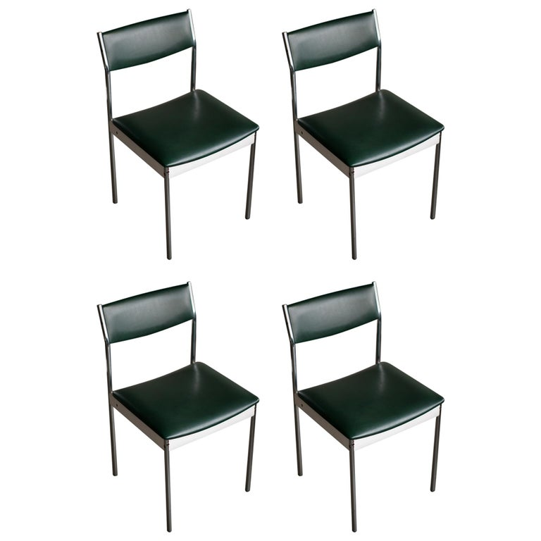 Set of Four Architectural Dining Chairs For Sale