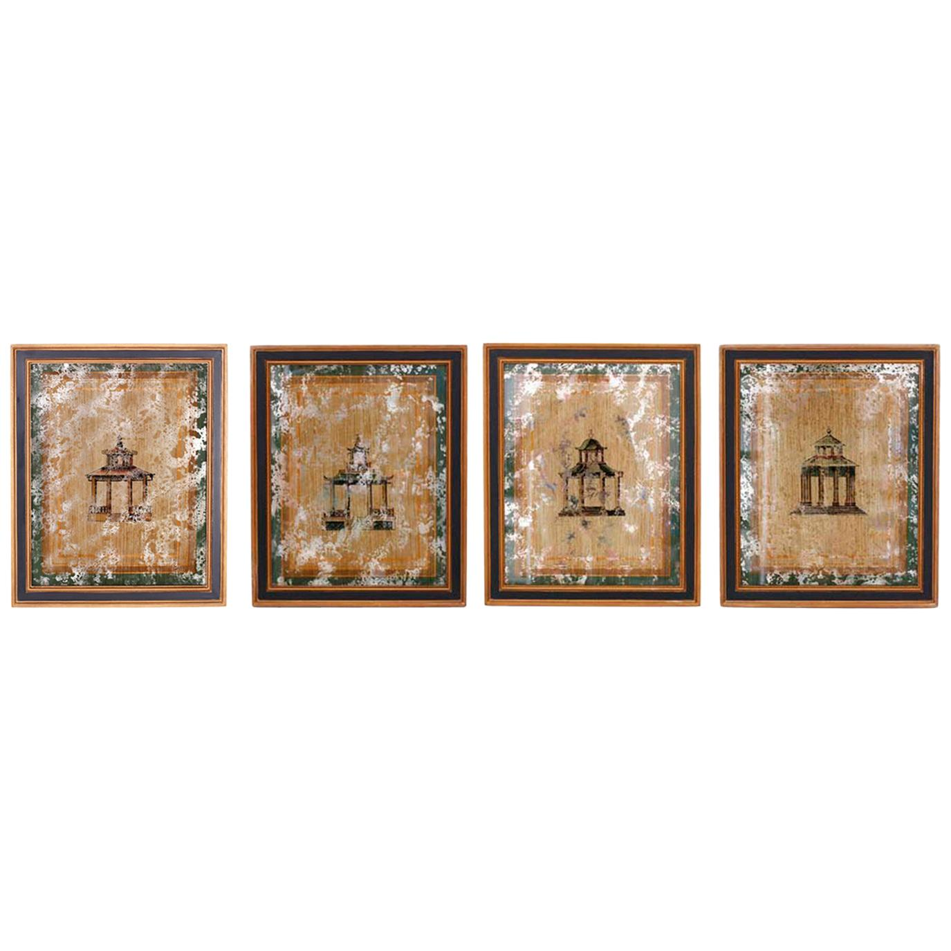 Set of Four Architectural Pagoda Paintings