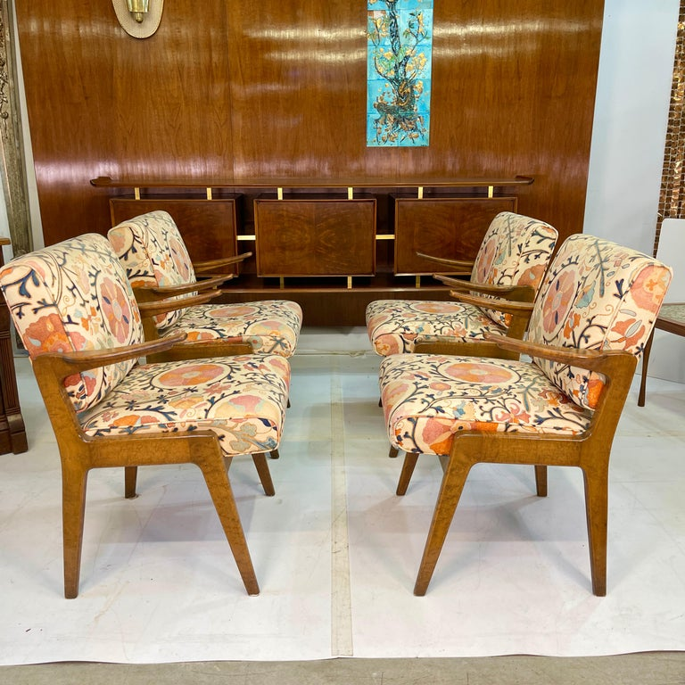Set of Four Armchairs by Adolfo Genovese of F & G Handmade Furniture For Sale 7