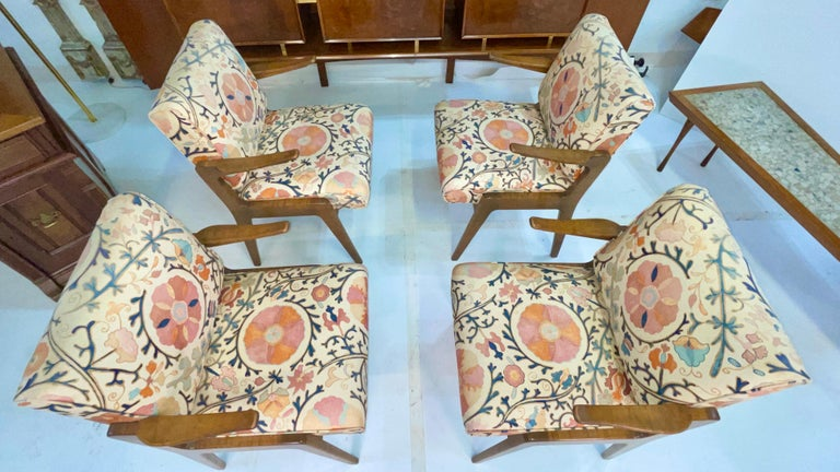 Set of Four Armchairs by Adolfo Genovese of F & G Handmade Furniture For Sale 8