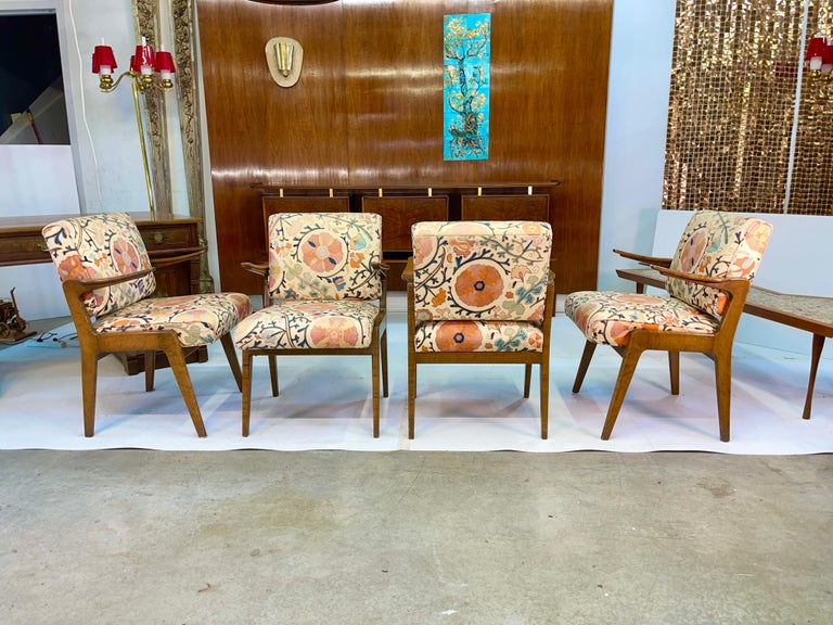 Mid-Century Modern Set of Four Armchairs by Adolfo Genovese of F & G Handmade Furniture For Sale