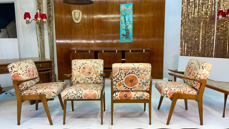 American Set of Four Armchairs by Adolfo Genovese of F & G Handmade Furniture For Sale