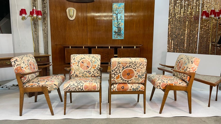 Set of Four Armchairs by Adolfo Genovese of F & G Handmade Furniture In Good Condition For Sale In Hingham, MA