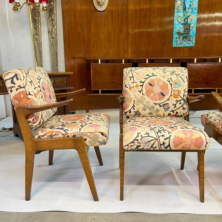 Mid-20th Century Set of Four Armchairs by Adolfo Genovese of F & G Handmade Furniture For Sale