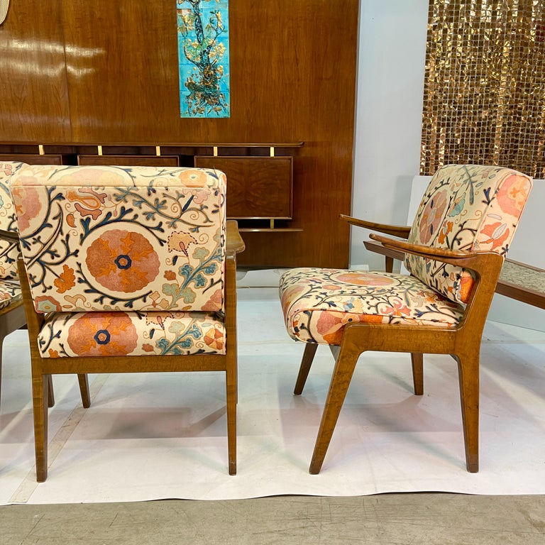 Upholstery Set of Four Armchairs by Adolfo Genovese of F & G Handmade Furniture For Sale