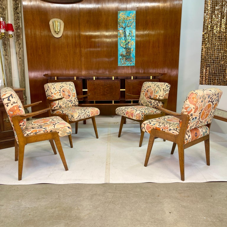 Set of Four Armchairs by Adolfo Genovese of F & G Handmade Furniture For Sale 1