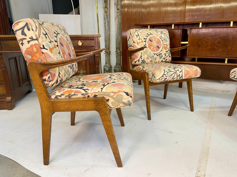 Set of Four Armchairs by Adolfo Genovese of F & G Handmade Furniture For Sale 2