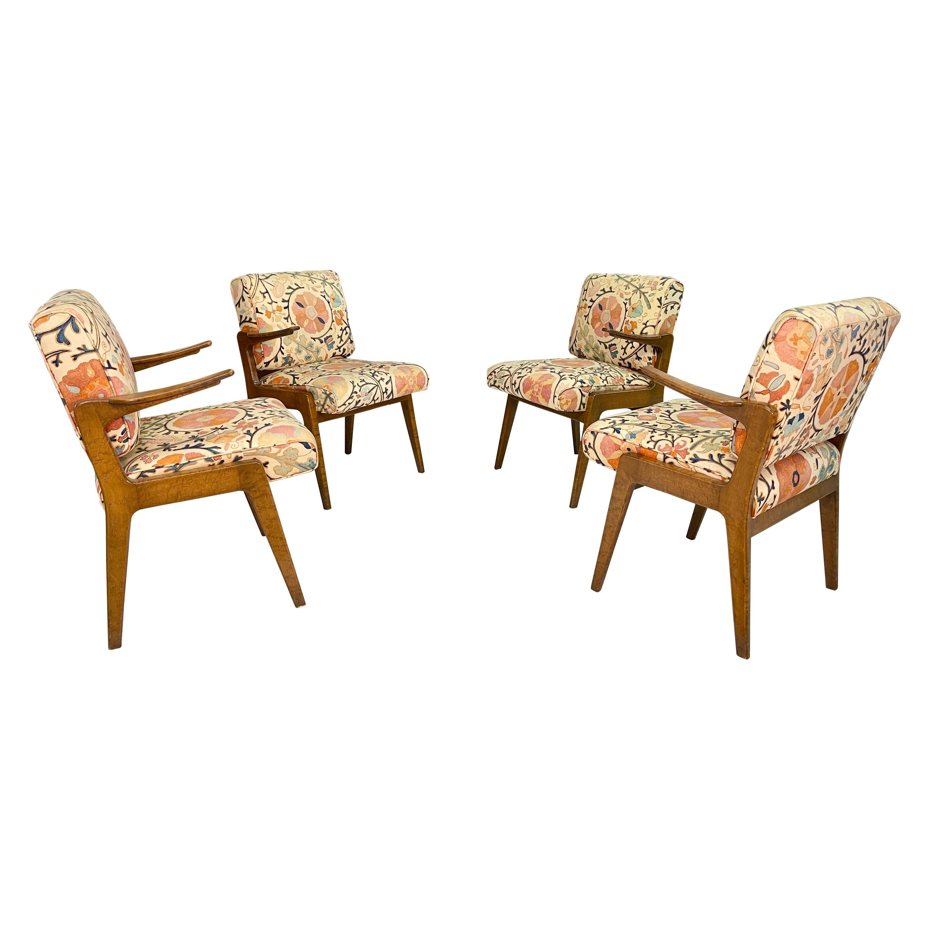 Set of Four Armchairs by Adolfo Genovese of F & G Handmade Furniture