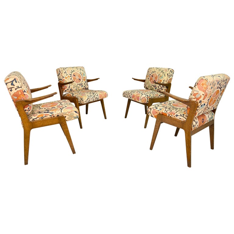 Set of Four Armchairs by Adolfo Genovese of F & G Handmade Furniture For Sale
