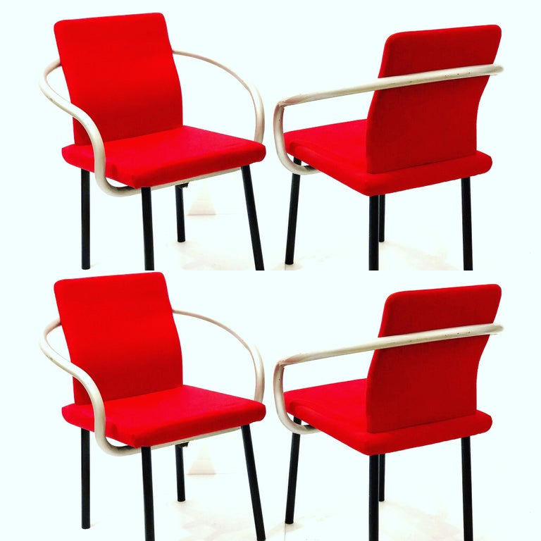 20th Century Set of Four Armchairs by Ettore Sottsass for Knoll Memphis Era For Sale