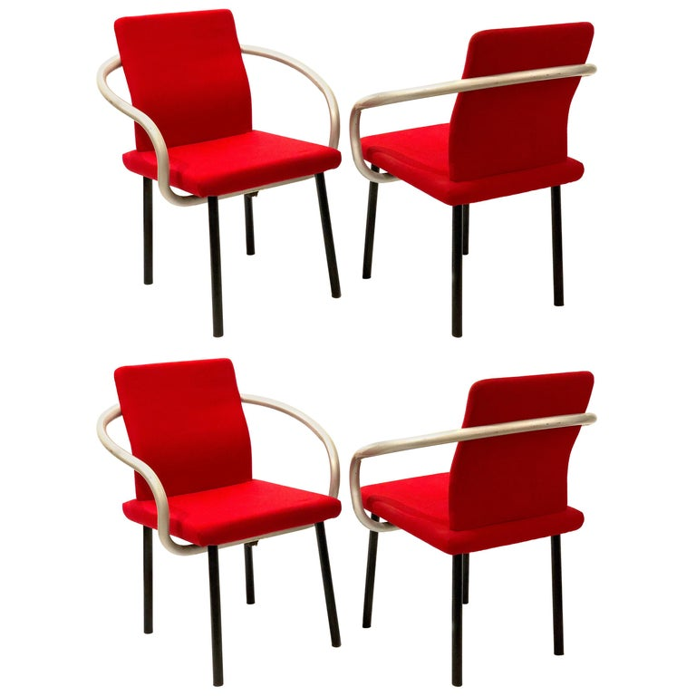 Set of Four Armchairs by Ettore Sottsass for Knoll Memphis Era For Sale