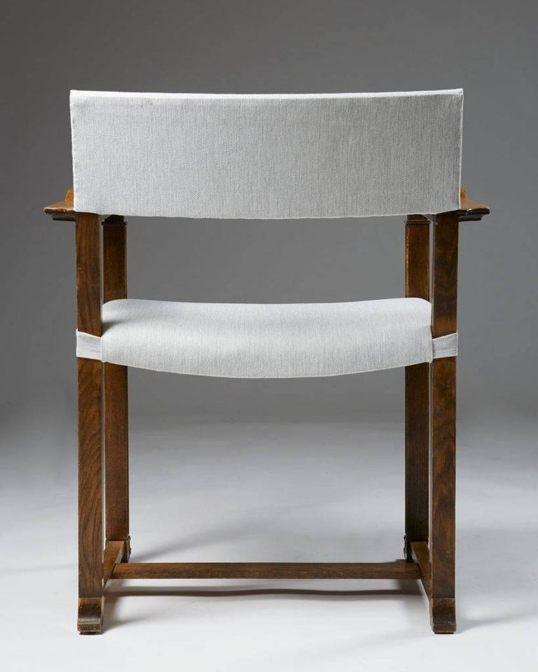Linen Set of Four Armchairs Designed by Carl Bergsten, Sweden, 1920s For Sale