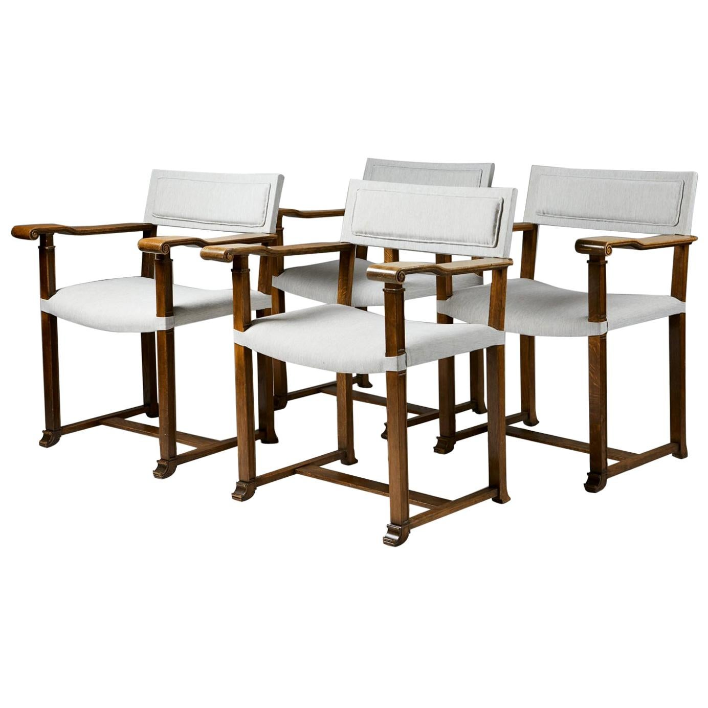 Set of Four Armchairs Designed by Carl Bergsten, Sweden, 1920s