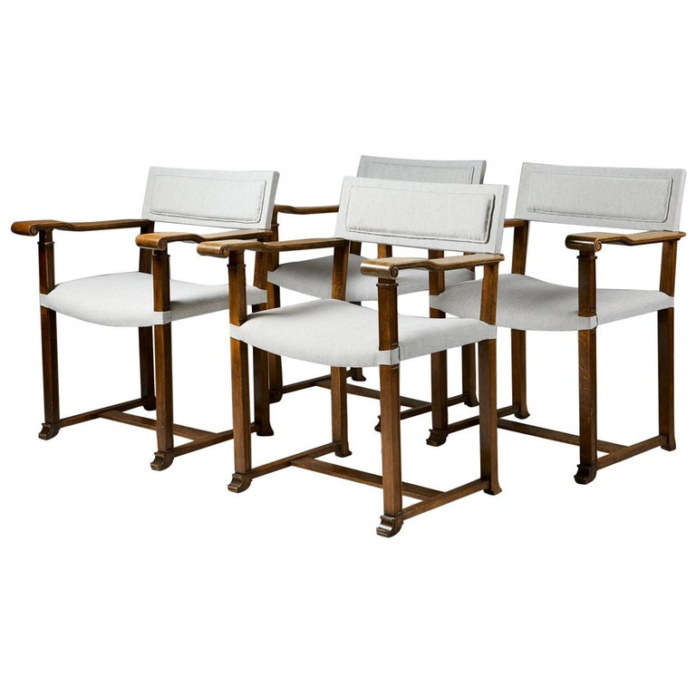 Set of Four Armchairs Designed by Carl Bergsten, Sweden, 1920s For Sale