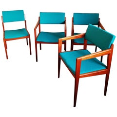 Set of Four Armchairs Dining Chairs Danish Teak from Thonet, 1960s