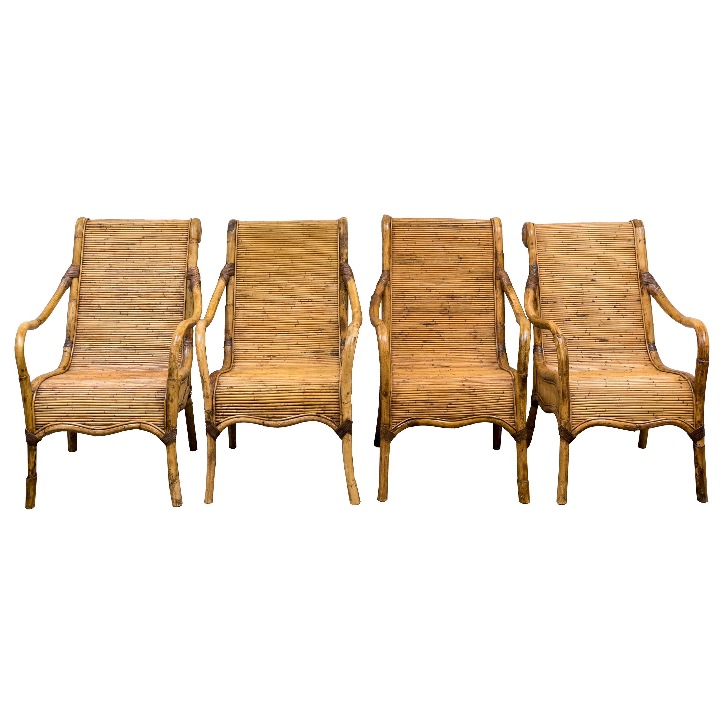 Set of Four Armchairs in Rattan
