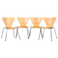 Set of Four Arne Jacbosen Mid-Century Modern Stacking Chairs, Made in Denmark