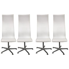 Set of Four Arne Jacobsen Denmark Oxford Swivel Chairs High Back Style 3172