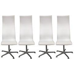 Set of Four Arne Jacobsen Denmark Oxford Swivel Chairs High Back Style 3172