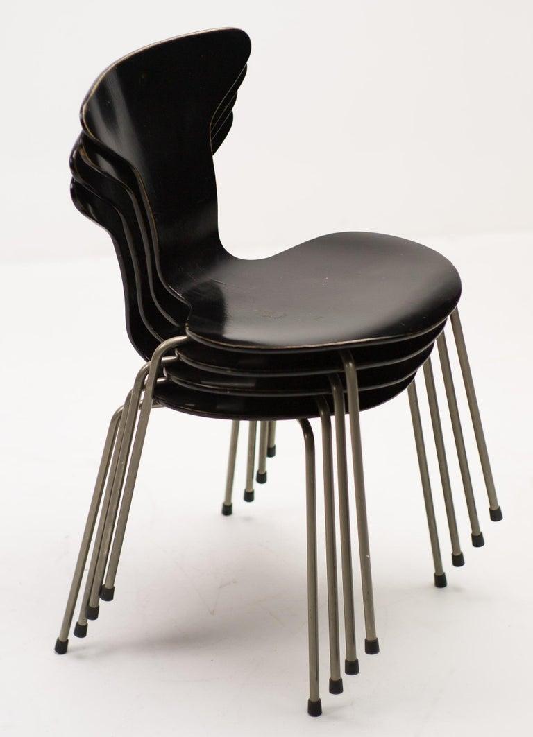 Set of Four Arne Jacobsen for Fritz Hansen 3105 Dining Chairs For Sale 1