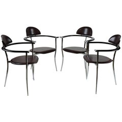 Set of Four Arrben Marilyn Italian Modern Leather and Chrome Dining Chairs