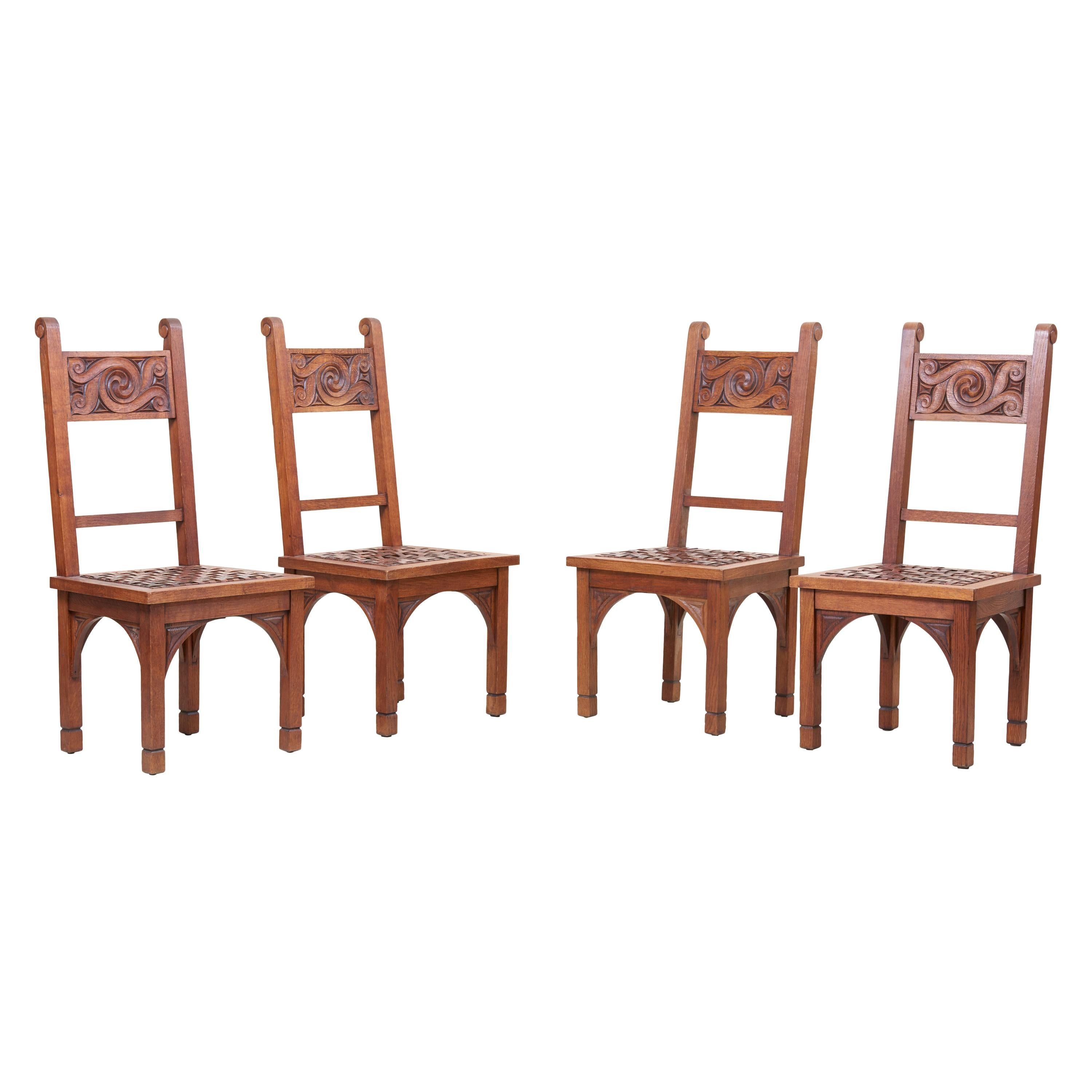 Set of Four Art Deco 1930s Dining Chairs by M. Jacques Philippe, France