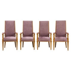 Set of Four Art Deco Beechwood Armchairs by Jacques Adnet