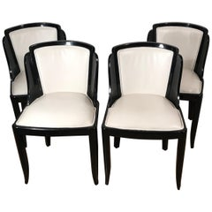 Set of Four Art Deco Chairs, France 1930-50, Wood with Black Lacquer Finish