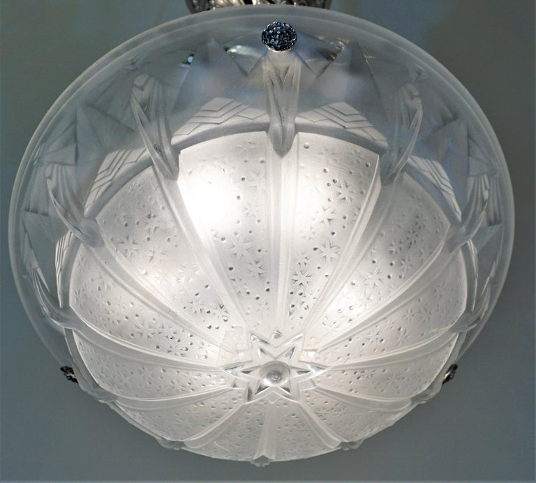 French Set of Four Art Deco Chandeliers by Muller Freres For Sale
