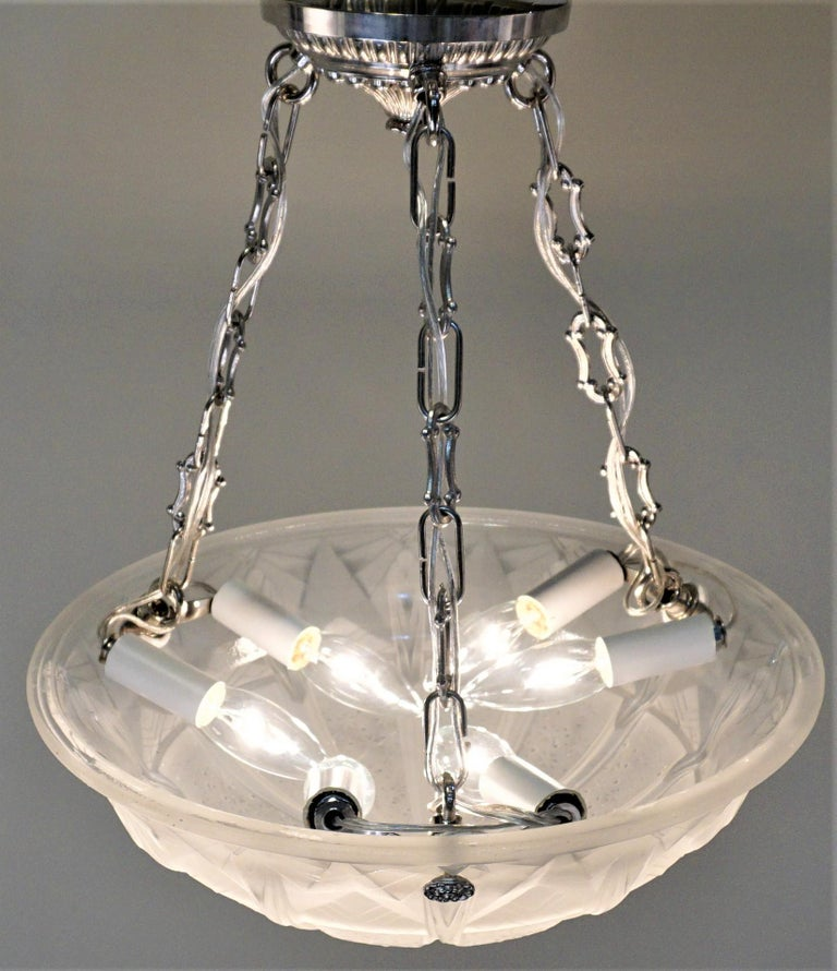 Mid-20th Century Set of Four Art Deco Chandeliers by Muller Freres For Sale