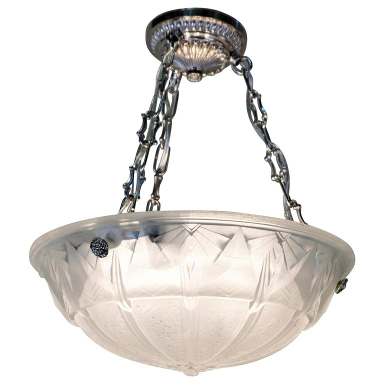 Set of Four Art Deco Chandeliers by Muller Freres For Sale