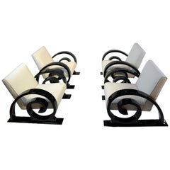 Set of Four Art Deco Club Chairs, Black Piano Lacquer, France, circa 1930