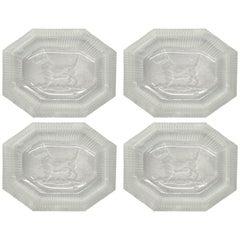 Set of Four Art Deco Crystal Scottie Salt Cellars