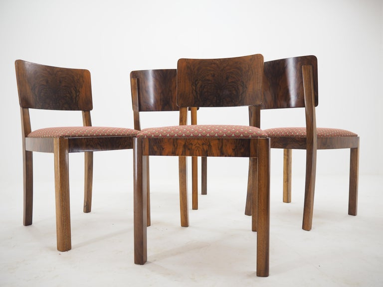 Set of Four Art Deco Dining Chairs, Czechoslovakia, 1930s For Sale 7