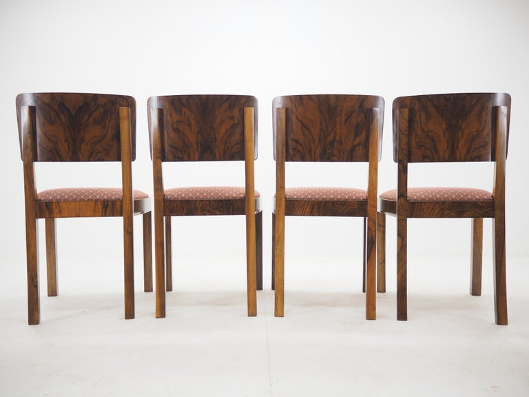 Mid-20th Century Set of Four Art Deco Dining Chairs, Czechoslovakia, 1930s For Sale