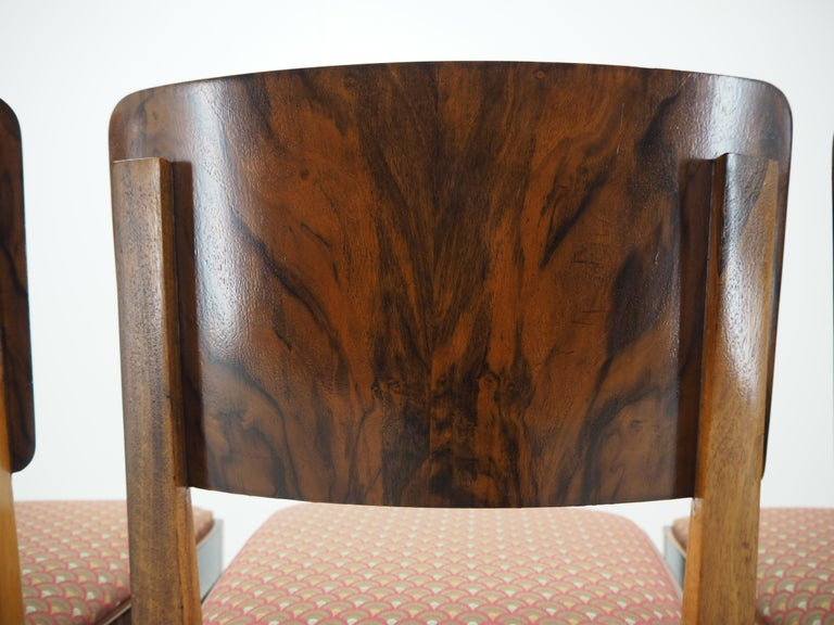 Fabric Set of Four Art Deco Dining Chairs, Czechoslovakia, 1930s For Sale