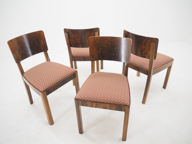 Set of Four Art Deco Dining Chairs, Czechoslovakia, 1930s For Sale 3