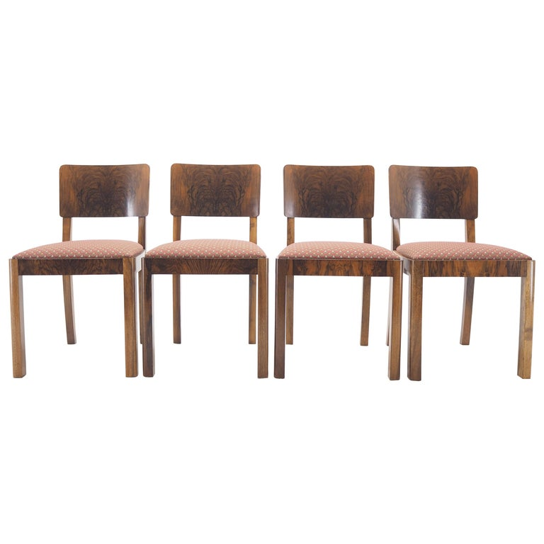 Set of Four Art Deco Dining Chairs, Czechoslovakia, 1930s For Sale