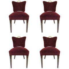 Set of Four Art Deco Dining Chairs in Velvet Upholstery