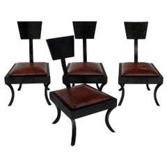 Set of Four Art Deco Klismos Low Chairs