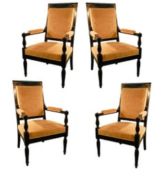Set of Four Art Deco Neoclassical Armchairs in the Style of André Arbus