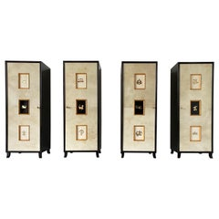 Set of Four Art Deco Parchment Cabinets with Gold Leaf Zodiac Signs, 1940s