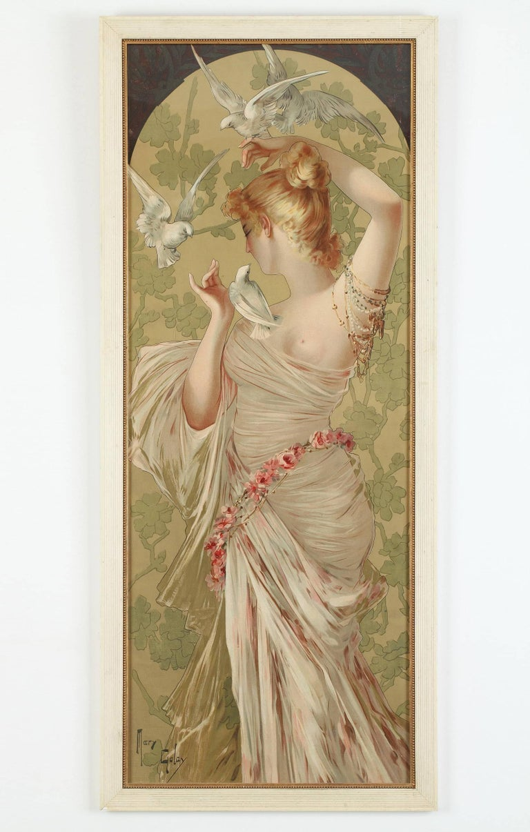 19th Century Set of Four Art Nouveau Decorative Panels by Mary Golay For Sale