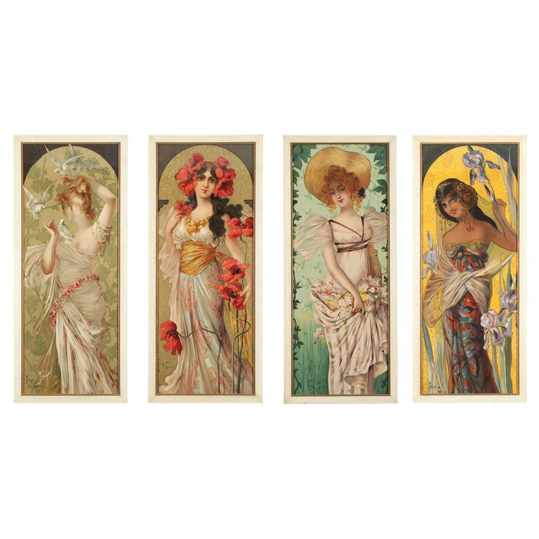 Set of Four Art Nouveau Decorative Panels by Mary Golay For Sale