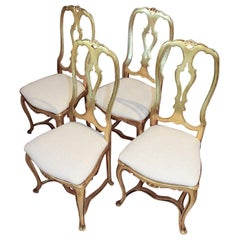 Set of Four Arthur Court Gilded Aluminum Dining Chairs, circa 1970