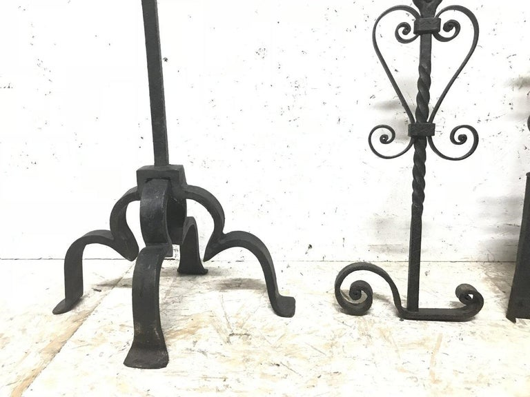 Set of Four Arts & Crafts Hand-Forged Iron Fire Utensils on a Matching Stand For Sale 5
