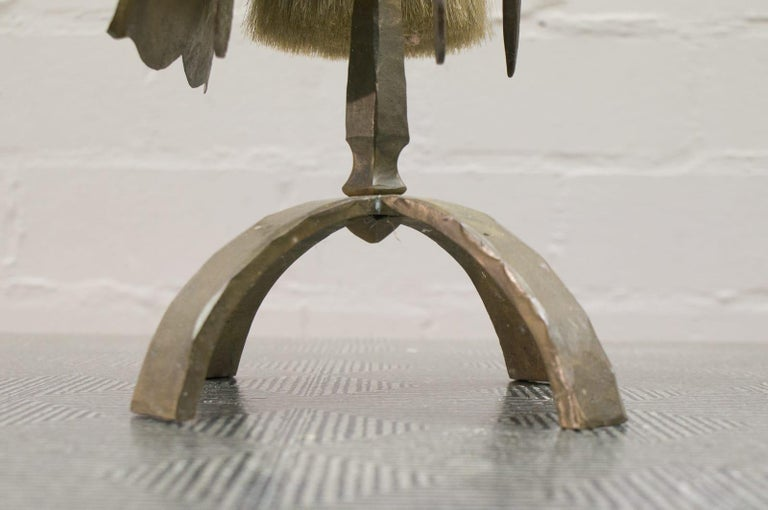 Set of Four Arts & Crafts Hand-Forged Iron Fire Utensils on a Matching Stand For Sale 6